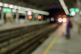 stock photo of electric station  - Abstract blurred electrical sky train station in city - JPG