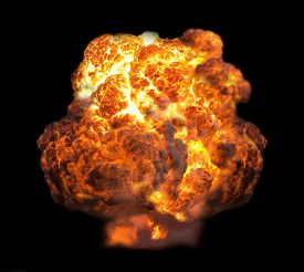 pic of combustion  - explosion dynamite fire bomb in dark isolate - JPG