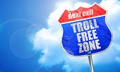 troll free zone, 3D rendering, blue street sign poster