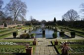 image of kensington  - beautiful gardens with flowers and water at kensington palace in London - JPG