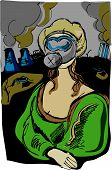 image of mona lisa  - modern Mona Lisa illustration with environmental concept
