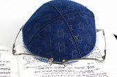 Jewish Kippah, Eyeglasses And Shema