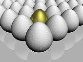 O ovo de ouro entre de algum vidro