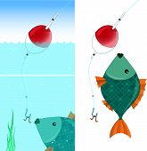 Fish and float - vector