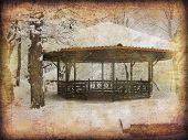 Vintage style photo of summerhouse