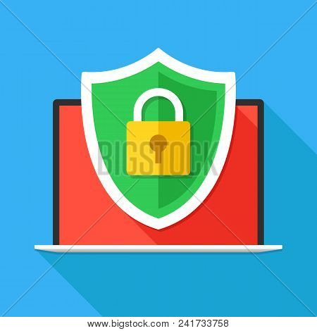 poster of Computer Security, Secure Internet Connection, Firewall, Data Protection Concepts. Laptop And Securi