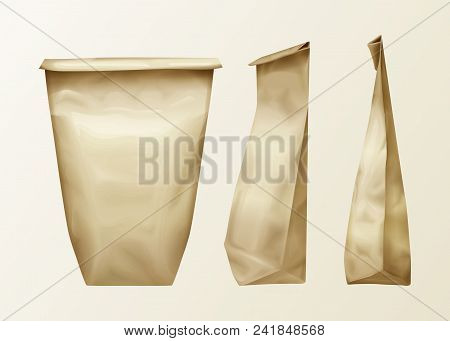 poster of Vector Realistic Wrinkled Paper Bag Various View Set. Lunch Pack Or Food Snack, Kitchen Ingredients,