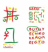 stock photo of tic-tac-toe  - A collection of four drawing games including Tic Tac Toe  - JPG