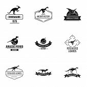 Dinosaur Study Logo Set. Simple Set Of 9 Dinosaur Study Vector Logo For Web Isolated On White Backgr poster