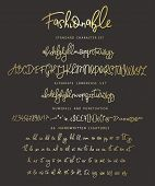 Handrawn Vector Alphabet. Letter For Script Font. Modern Gold Calligraphy. Marker Painted Abc With L poster