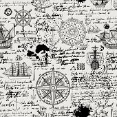 Vector Abstract Seamless Background On The Theme Of Travel, Adventure And Discovery. Old Manuscript  poster