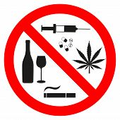 Forbidding Signs no Smoking, no Drugs, no Cannabis And no Alcohol On A White Background poster