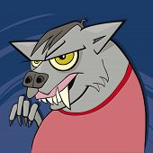 stock photo of wolfman  - cartoon vector illustration of funny spooky werewolf - JPG