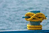 Yellow Rope On Bollard