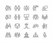 Simple Set Of Business People Related Vector Line Icons. Contains Such Icons As One-on-one Meeting,  poster