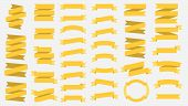 Vector Ribbon Banners Isolated On White Background. Yellow Tapes. Set Of 37 Yellow Ribbon Banners. T poster