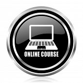 Online course black silver metallic chrome border glossy round web icon poster