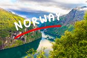 Tourism Vacation And Travel. Beautiful View Over Magical Geirangerfjorden From Flydalsjuvet Viewpoin poster