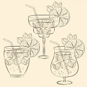 Alcoholic Cocktail Glass Hand Drawn Sketch Vector Illustration. Alcohol Drink In Different Glass Iso poster