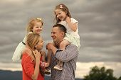 Child Childhood Children Happiness Concept. Mothers, Fathers Day. Girls Sit On Mother Father Shoulde poster