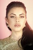 Постер, плакат: Fashion Woman Model Posing Beauty Fashion Model Girl Fashion Look Woman With Brunette Hair On Pin