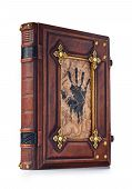 Brown Medieval Styled Leather Book With Metal Frame Around Open Hand Printed To The Parchment Center poster