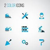 Building Icons Colored Set With Excavator, Wall Painter, Cogwheel And Other Putty Knife Elements. Is poster
