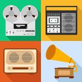 Retro Audio Technique. A Set Of Old Audio Equipment. Grammafon, Tape Recorder, Radio. Flat Design, V poster