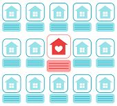 Vector Flat Illustration About House Hunting. Search A New House App. Modern Background With Grid Of poster