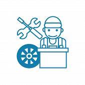 Car Mechanic Line Icon, Vector Illustration. Car Mechanic Linear Concept Sign. poster