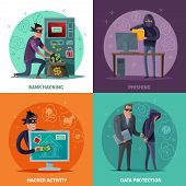 Hacker Activity, Phishing, Breaking Of Atm And Stealing Money, Data Protection, Cartoon Design Conce poster
