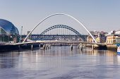 stock photo of tyne  - Inline arches of the iconic tyne bridges - JPG