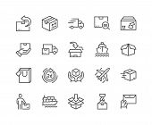 Simple Set Of Delivery Related Vector Line Icons. Contains Such Icons As Priority Shipping, Express  poster