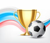 Golden Cup With Soccer Ball Isolated On White Background. Soccer World Cup Concept. Vector Icon. Eps poster