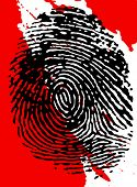 Black fingerprint on a blood splattered background