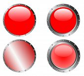 4 Studded Red Web Buttons (on separated layers)