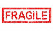 Grunge Office Stamp with the word FRAGILE in a grunge splattered text. (Letters have been uniquely d