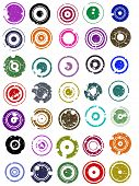 35 splatted Circle Graphic Elements (Circles have transparent centres etc so they can be overlaid on