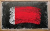 Flag Of Bahrain On Blackboard Painted With Chalk