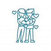 Couple Of Lovers Line Icon, Vector Illustration. Couple Of Lovers Linear Concept Sign. poster