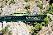 foto of motor coach  - engine coach on railway viaduct near Tua - JPG