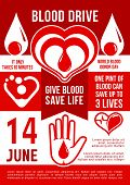 Vector Banner In Red Color, Concept Of Donation, Give Blood. Give Blood - Save Life, Celebration Of  poster