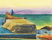 Fishermen On A Breakwater. A Scene Of Sea Fishing From The Shore. Colorful Seascape. Multicolored Cl poster
