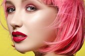 Young Model In Pink Wig. Beautiful Model With Fashion Makeup. Bright Spring Look. Sexy Hair Color, M poster