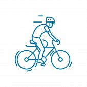 Participation In Cycling Line Icon, Vector Illustration. Participation In Cycling Linear Concept Sig poster