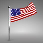 American flag flying - 3d render