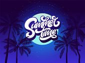 Summer Time Typography Background With Palm Tree And Night Sky And Moon. Vector Lettering For Sticke poster