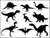 image of dinosaurus  - Dinosaurus silhouettes on white - JPG
