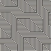 Vector Geometric Lines Seamless Pattern. Abstract Graphic Striped Ornament. Simple Black And White S poster