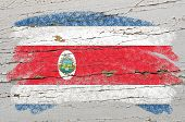 Flag Of Costa Rica On Grunge Wooden Texture Painted With Chalk